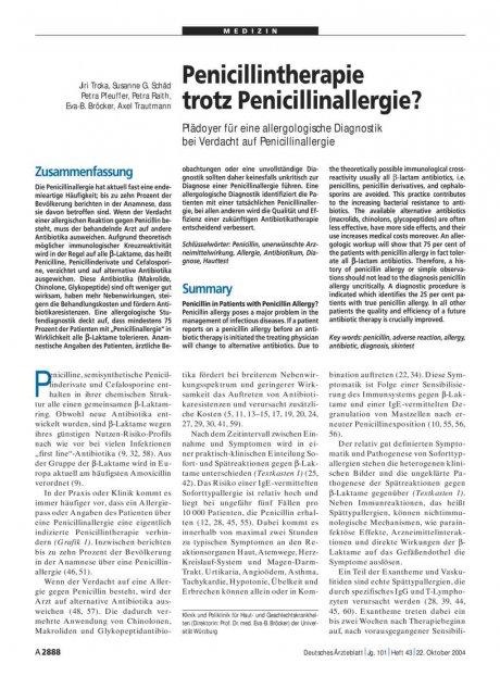 Penicillintherapie trotz Penicillinallergie? Plädoyer für eine allergologische Diagnostik bei Verdacht auf Penicillinallergie