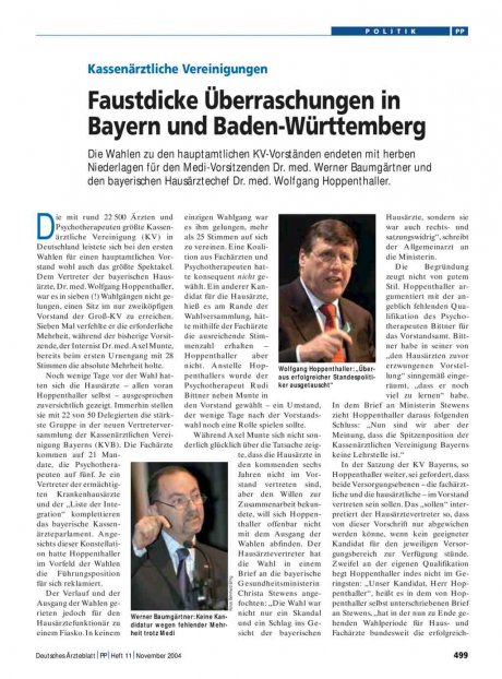 Kassenärztliche Vereinigungen: Faustdicke Überraschungen in Bayern und Baden-Württemberg