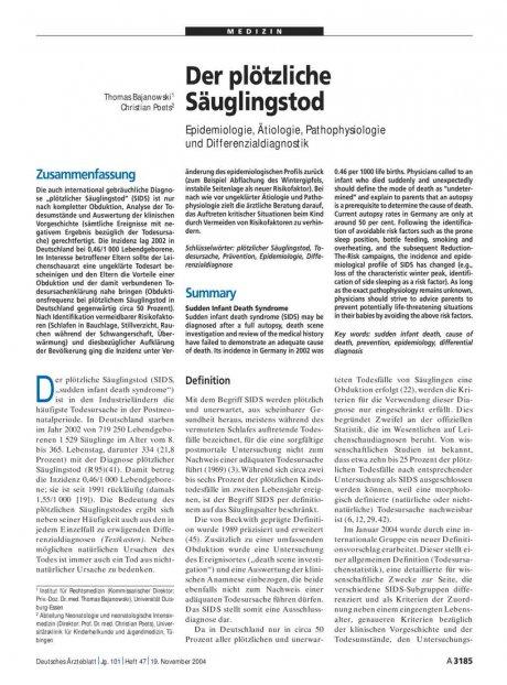 Der plötzliche Säuglingstod: Epidemiologie, Ätiologie, Pathophysiologie und Differenzialdiagnostik