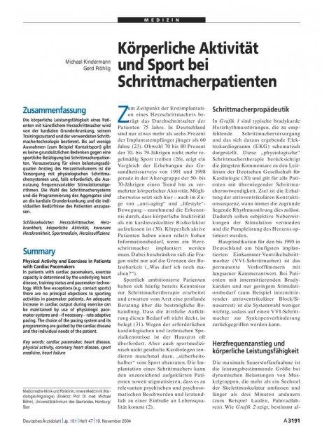 Körperliche Aktivität und Sport bei Schrittmacherpatienten