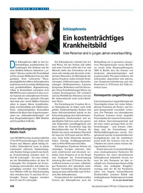 Schizophrenie: Ein kostenträchtiges Krankheitsbild