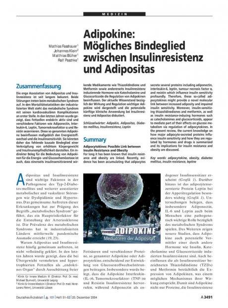 Adipokine: Mögliches Bindeglied zwischen Insulinresistenz und Adipositas
