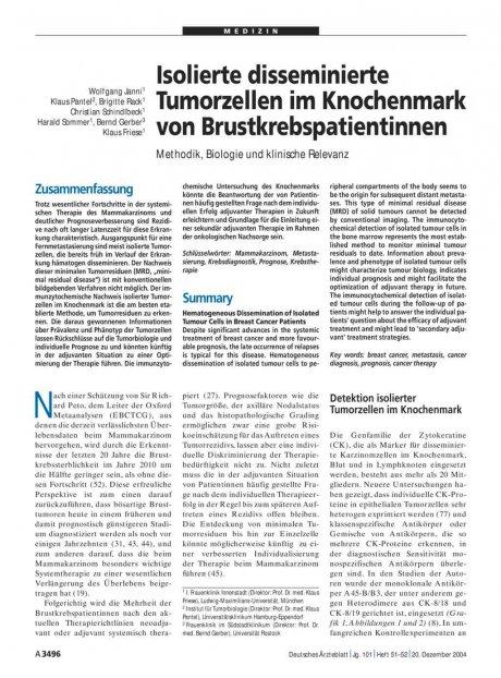 Isolierte disseminierte Tumorzellen im Knochenmark von Brustkrebspatientinnen: Methodik, Biologie und klinische Relevanz