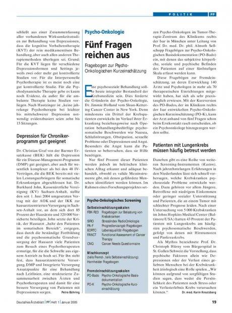 Psycho-Onkologie: Fünf Fragen reichen aus