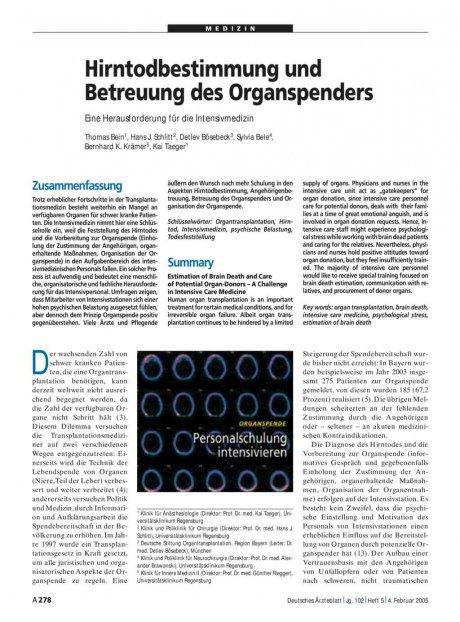 Hirntodbestimmung und Betreuung des Organspenders: Eine Herausforderung für die Intensivmedizin