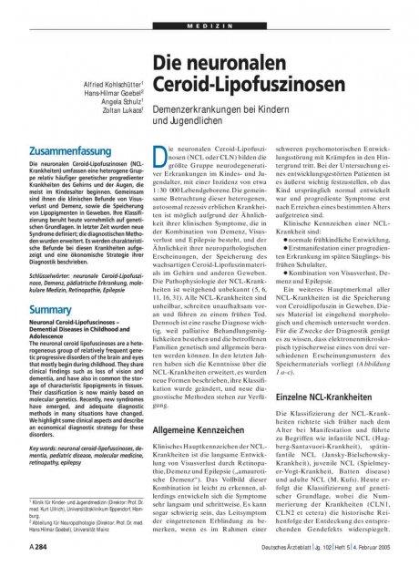 Die neuronalen Ceroid-Lipofuszinosen: Demenzerkrankungen bei Kindern und Jugendlichen