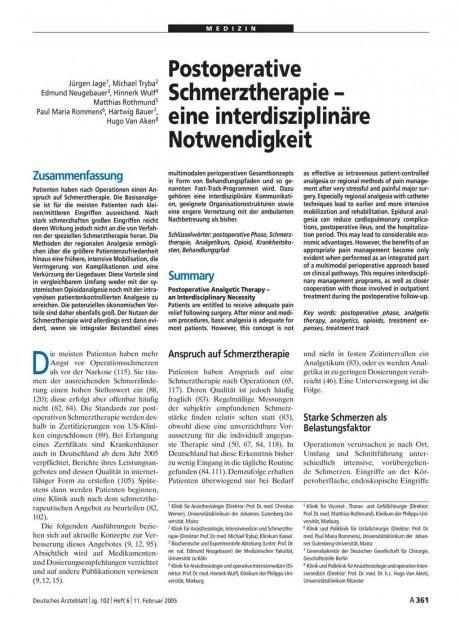 Postoperative Schmerztherapie – eine interdisziplinäre Notwendigkeit