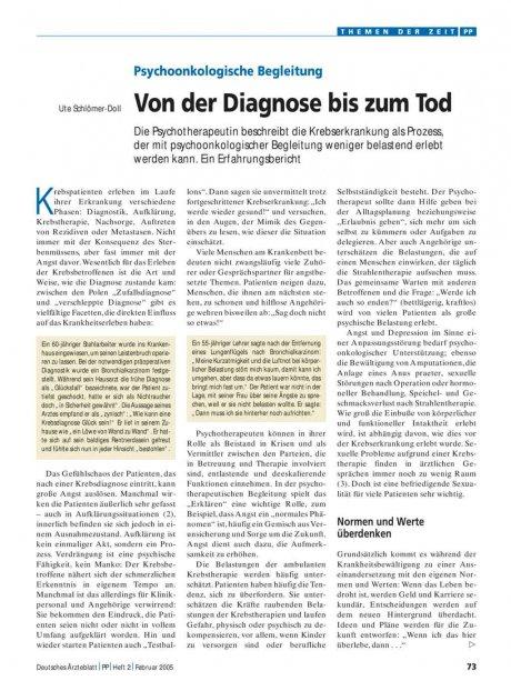 Psychoonkologische Begleitung: Von der Diagnose bis zum Tod