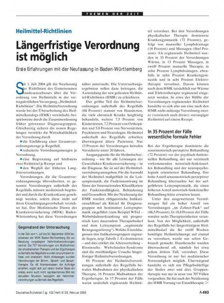 Heilmittel-Richtlinien: Längerfristige Verordnung ist möglich