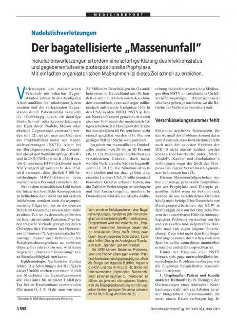 """Nadelstichverletzungen: Der bagatellisierte """"Massenunfall"""""""