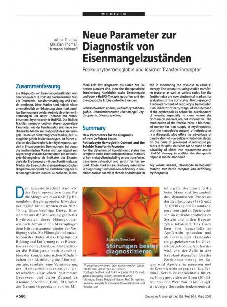 Neue Parameter zur Diagnostik von Eisenmangelzuständen: Retikulozytenhämoglobin und löslicher Transferrinrezeptor