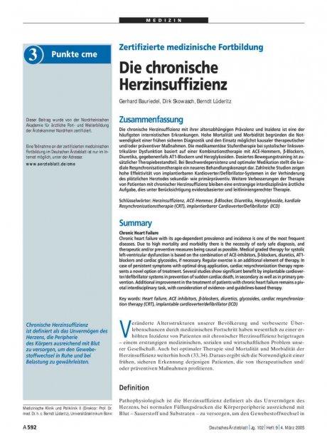 Zertifizierte medizinische Fortbildung: Die chronische Herzinsuffizienz
