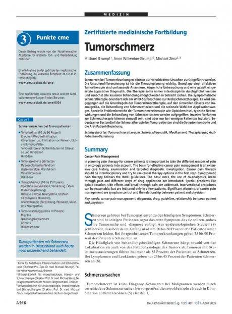 Zertifizierte medizinische Fortbildung: Tumorschmerz