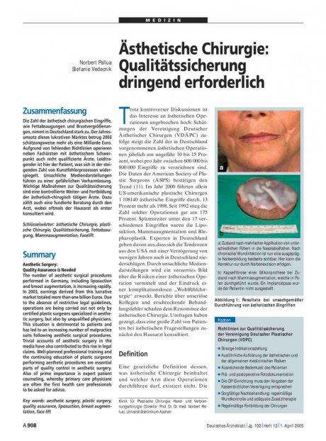 Ästhetische Chirurgie: Qualitätssicherung dringend erforderlich