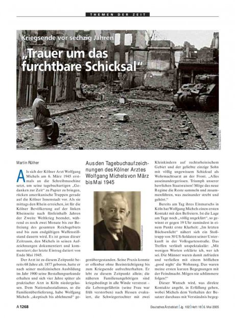 """Kriegsende vor sechzig Jahren: """"Trauer um das furchtbare Schicksal"""""""