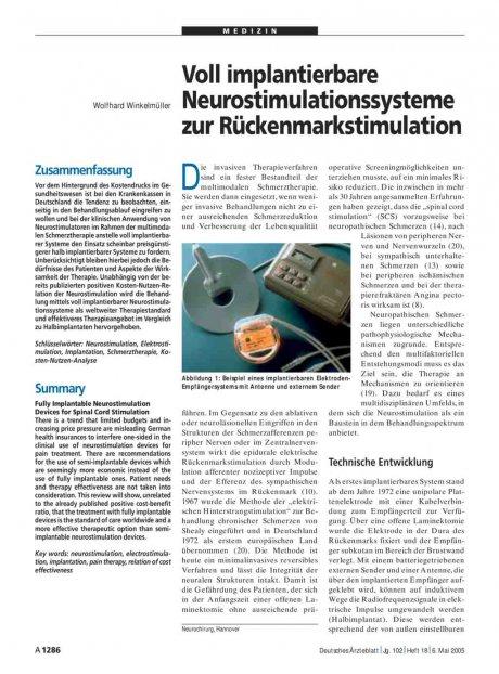 Voll implantierbare Neurostimulationssysteme zur Rückenmarkstimulation