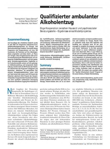 Qualifizierter ambulanter Alkoholentzug: Enge Kooperation zwischen Hausarzt und psychosozialer Beratungsstelle – Ergebnisse eines Modellprojektes