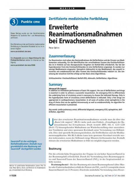 Zertifizierte medizinische Fortbildung: Erweiterte Reanimationsmaßnahmen bei Erwachsenen