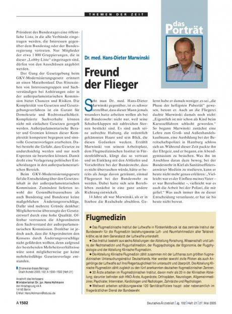 Das Porträt: Dr. med. Hans-Dieter Marwinski – Freund der Flieger