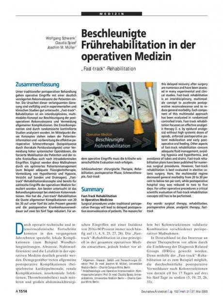 "Beschleunigte Frührehabilitation in der operativen Medizin: ""Fast-track""-Rehabilitation"