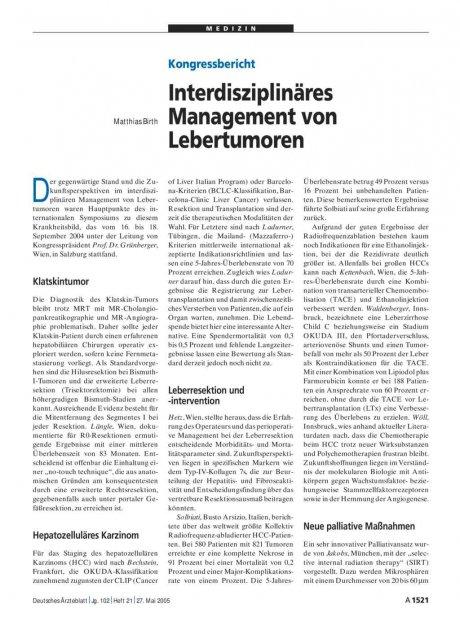 Kongressbericht: Interdisziplinäres Management von Lebertumoren