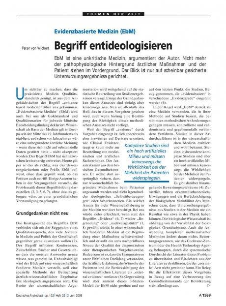 Evidenzbasierte Medizin (EbM): Begriff entideologisieren