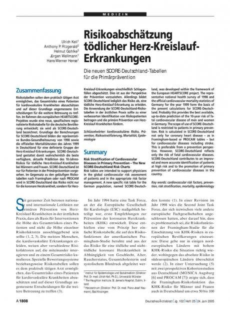 Risikoabschätzung tödlicher Herz-Kreislauf-Erkrankungen: Die neuen SCORE-Deutschland-Tabellen für die Primärprävention