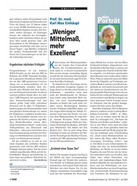 """Prof. Dr. med. Karl Max Einhäupl: """"Weniger Mittelmaß, mehr Exzellenz"""""""