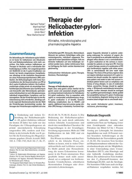 Therapie der Helicobacter-pylori-Infektion: Klinische, mikrobiologische und pharmakologische Aspekte