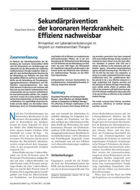 Sekundärprävention der koronaren Herzkrankheit: Effizienz nachweisbar