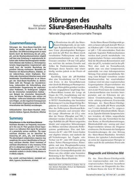 Störungen des Säure-Basen-Haushalts: Rationale Diagnostik und ökonomische Therapie