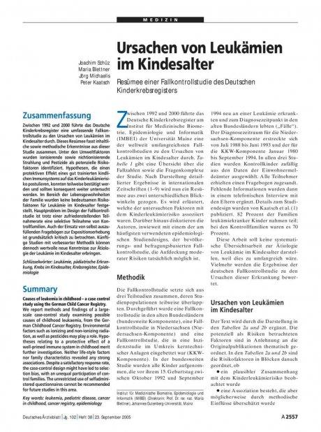 Ursachen von Leukämien im Kindesalter: Resümee einer Fallkontrollstudie des Deutschen Kinderkrebsregisters