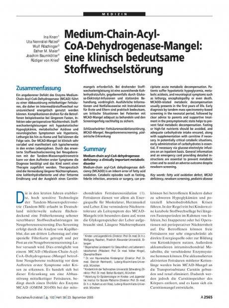 Medium-Chain-Acyl-CoA-Dehydrogenase-Mangel: eine klinisch bedeutsame Stoffwechselstörung