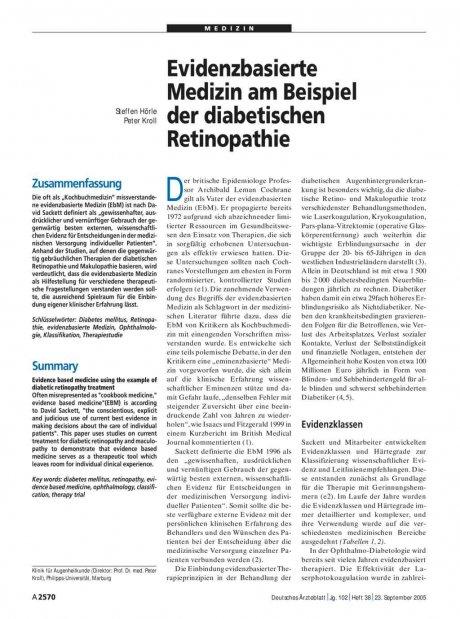 Evidenzbasierte Medizin am Beispiel der diabetischen Retinopathie