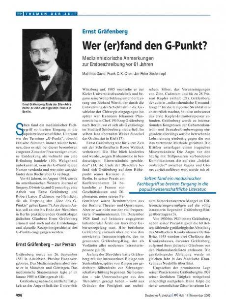 Ernst Gräfenberg: Wer (er)fand den G-Punkt?