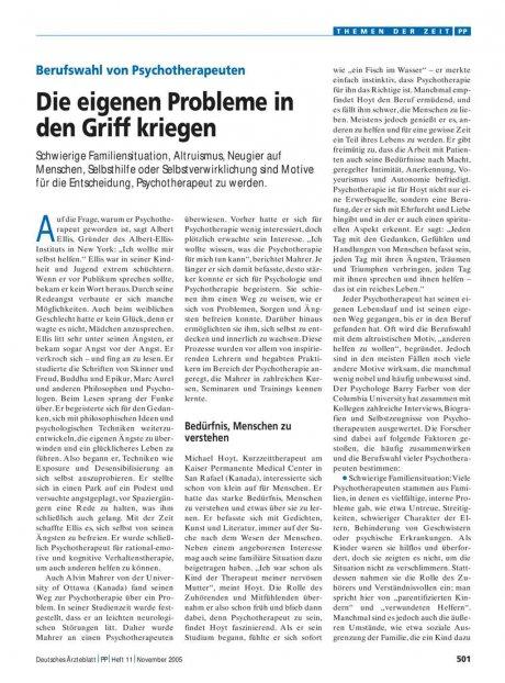 Berufswahl von Psychotherapeuten: Die eigenen Probleme in den Griff kriegen