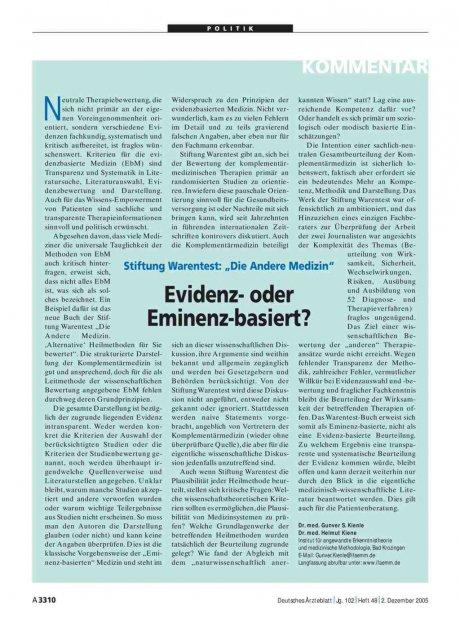 """Stiftung Warentest: """"Die Andere Medizin"""": Evidenz- oder Eminenz-basiert?"""