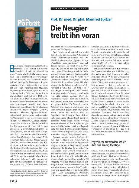 Prof. Dr. med. Dr. phil. Manfred Spitzer: Die Neugier treibt ihn voran