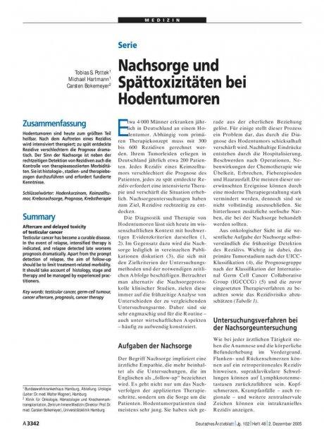Serie: Nachsorge und Spättoxizitäten bei Hodentumoren
