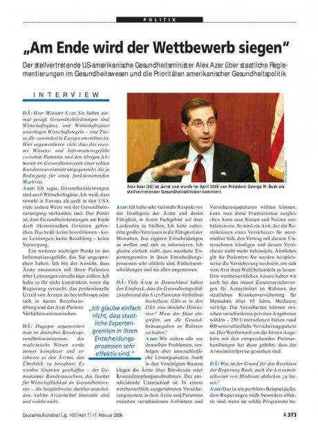 """""""Am Ende wird der Wettbewerb siegen"""": Der stellvertretende US-amerikanische Gesundheitsminister Alex Azar über staatliche Reglementierungen im Gesundheitswesen und die Prioritäten amerikanischer Gesundheitspolitik"""