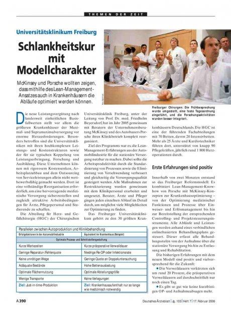 Universitätsklinikum Freiburg: Schlankheitskur mit Modellcharakter