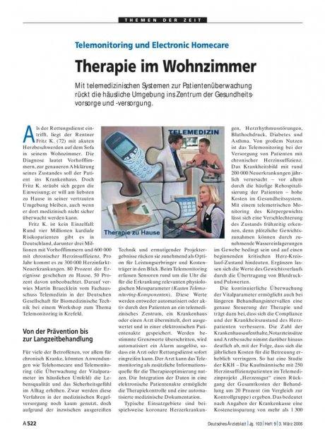 Telemonitoring und Electronic Homecare: Therapie im Wohnzimmer