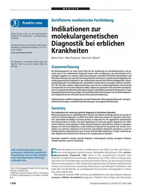 Zertifizierte medizinische Fortbildung: Indikationen zur molekulargenetischen Diagnostik bei erblichen Krankheiten