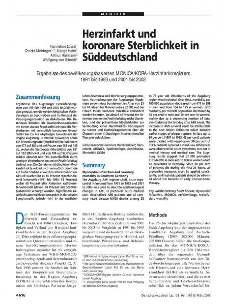 Herzinfarkt und koronare Sterblichkeit in Süddeutschland
