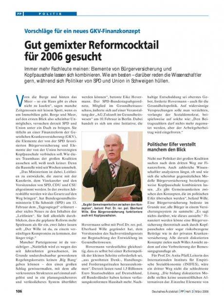Vorschläge für ein neues GKV-Finanzkonzept: Gut gemixter Reformcocktail für 2006 gesucht
