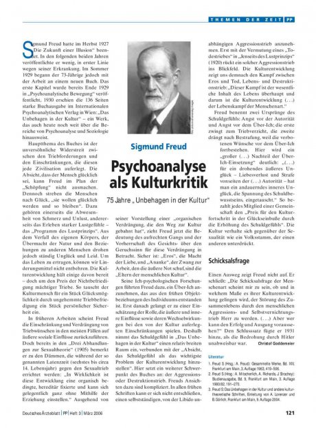 """Sigmund Freud – Psychoanalyse als Kulturkritik: 75 Jahre """"Unbehagen in der Kultur"""""""