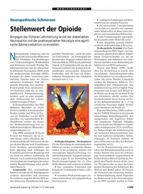Neuropathische Schmerzen: Stellenwert der Opioide