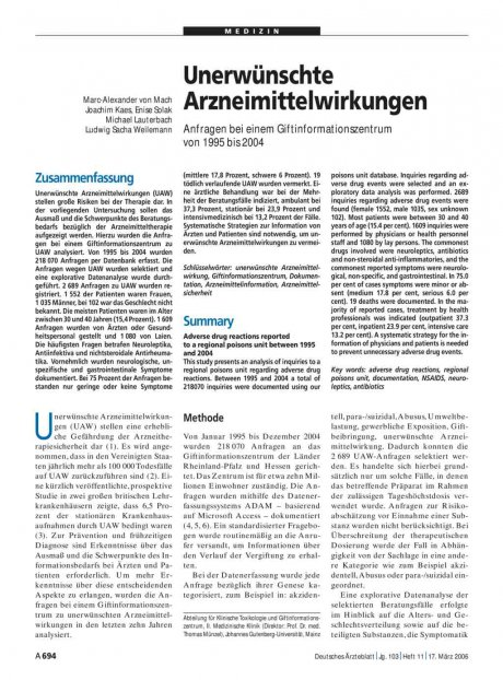 Unerwünschte Arzneimittelwirkungen: Anfragen bei einem Giftinformationszentrum von 1995 bis 2004