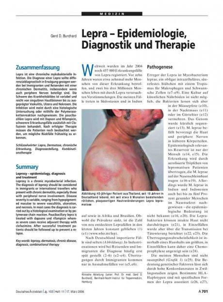 Lepra – Epidemiologie, Diagnostik und Therapie
