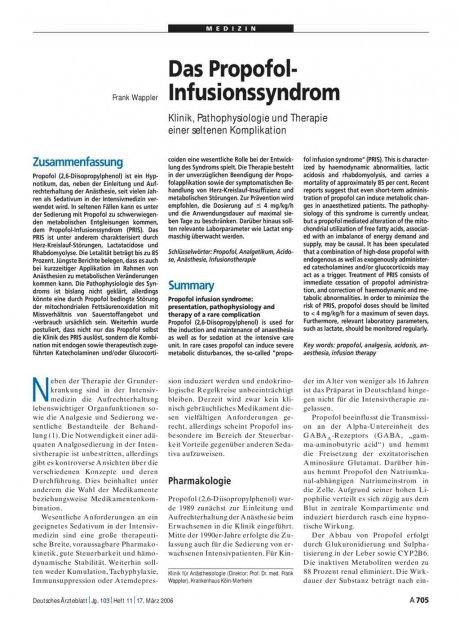 Das Propofol-Infusionssyndrom: Klinik, Pathophysiologie und Therapie einer seltenen Komplikation